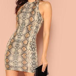 snakeskin print sleeveless bodycon NWOT